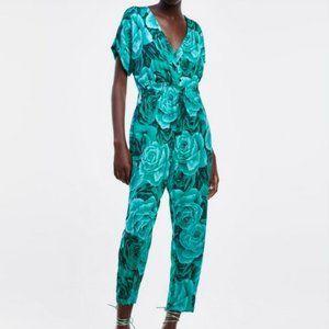Zara Green Roses Print Jumpsuit M
